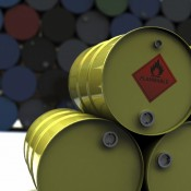 Flammable material in barrels. 3D rendering with raytraced textures and HDRI lighting.